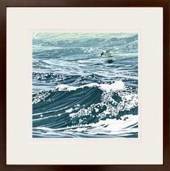 A Tern of the Tide (Linocut, seaside, deep sea blue, sea foam green, white)