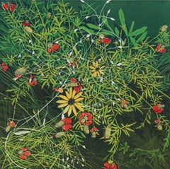 Interlace 4/20 (green, flowers, grass, linocut)