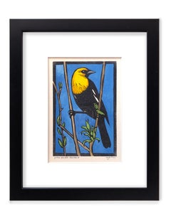 Yellow-Headed Blackbird (linocut, hand-painted paper, colorful )