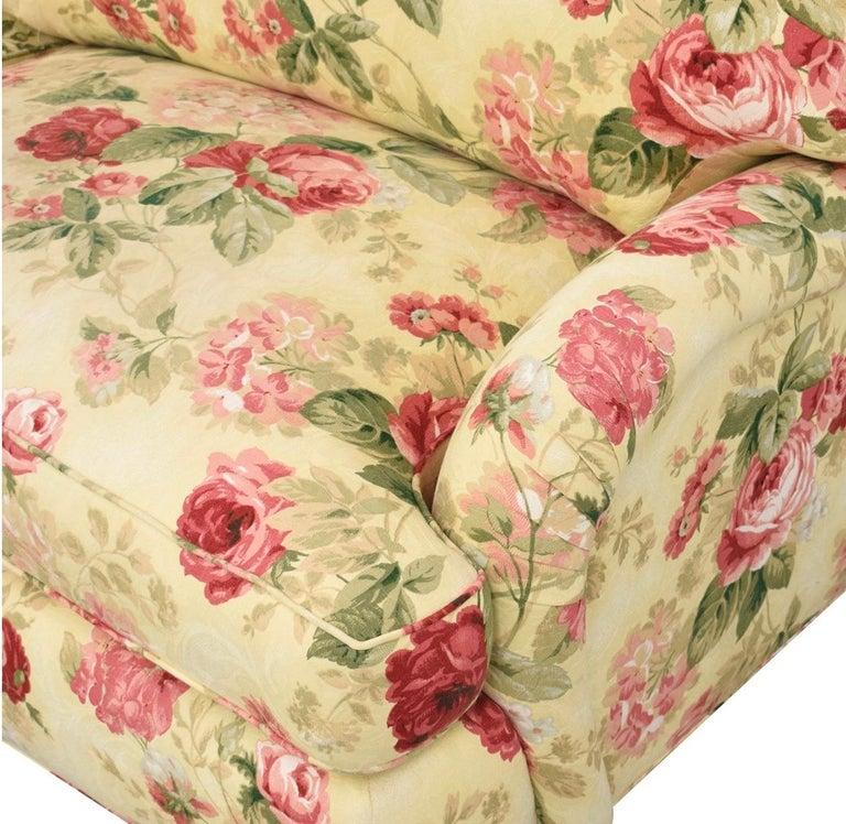 American Classical Sherrill Custom English Rose Two-Cushion Rolled Arm Sofa, Plinth Base, Loveseat