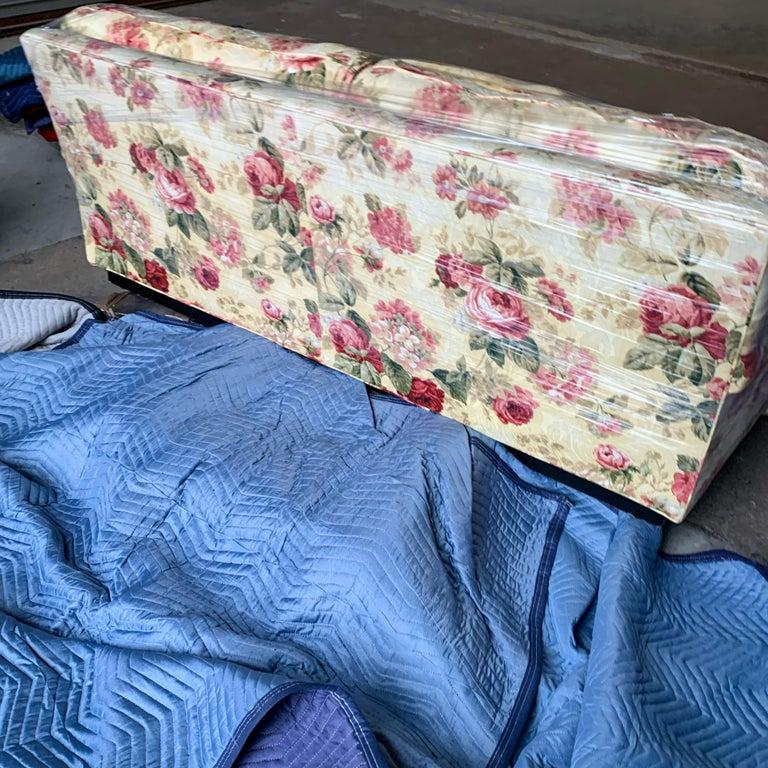 American Sherrill Custom English Rose Two-Cushion Rolled Arm Sofa, Plinth Base, Loveseat