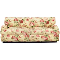 Sherrill Custom English Rose Two-Cushion Rolled Arm Sofa, Plinth Base, Loveseat