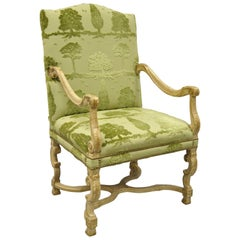 Sherrill Green Upholstered Italian Baroque Style Tall Back Throne Armchair