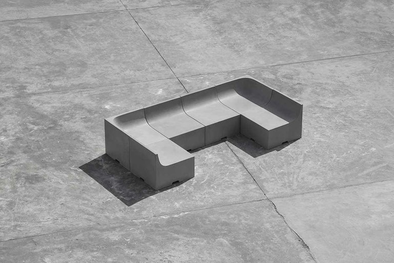 Industrial 'SHI' Modular Bench / Sofa Made of Concrete For Sale