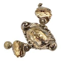 Shiebler Sterling Silver and 14 Karat Gold Etruscan or Medallion Bracelet
