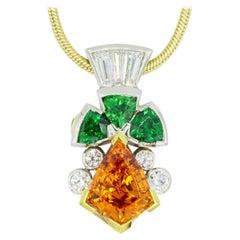 Shield Cut Orange Spessartite & Green Tsavorite Pendant by Rock N Gold Creations