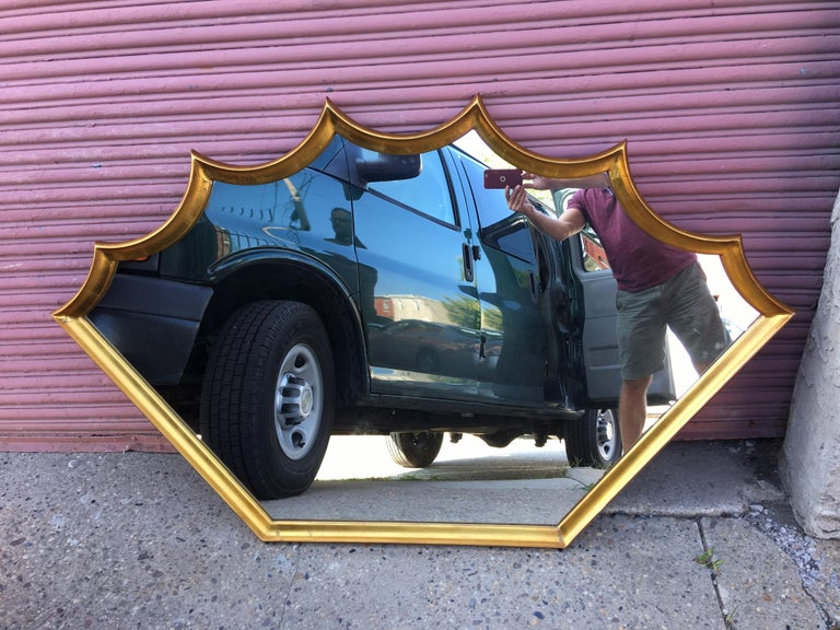 20th Century Shield Gilt Mirror For Sale