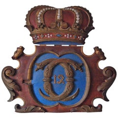 Shield of Royal Coat of Arms of Carl XII and Crown, Sweden, Circa 1810-1820