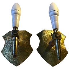Shield Shaped Brass Sconces in the Style of Gothic Revival, 1960s