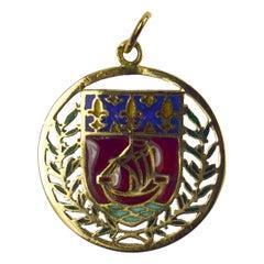 City of Paris Coat of Arms 18k Gold Plique-A-Jour Enamel Charm Pendant