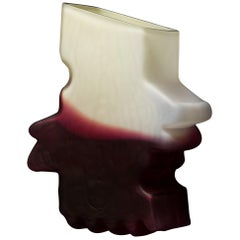 Shifting Shape Crimson and White Vase