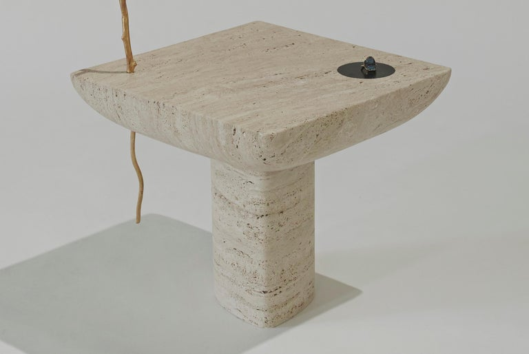 Shifting Times, Travertine Side Table by Sibylle Tarazi for House of Today In New Condition For Sale In Beirut, Beirut District