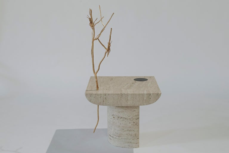 Lebanese Shifting Times, Travertine Side Table by Sibylle Tarazi for House of Today For Sale