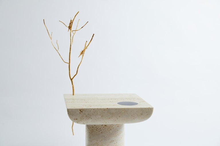 Carved Shifting Times, Travertine Side Table by Sibylle Tarazi for House of Today For Sale