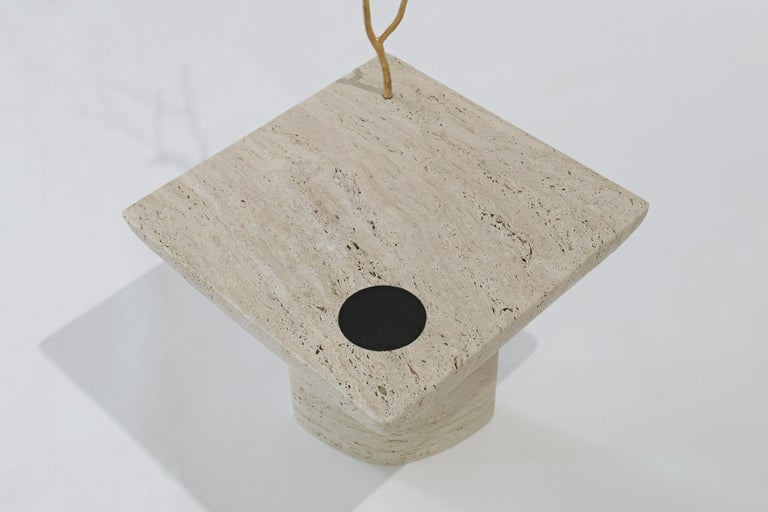 Shifting Times, Travertine Side Table by Sibylle Tarazi for House of Today For Sale 1