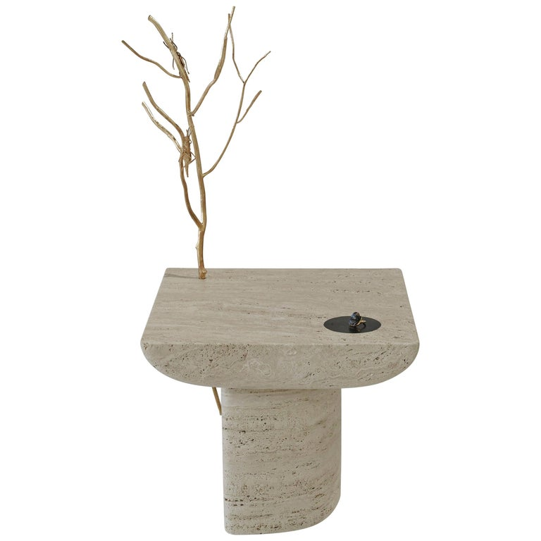 Shifting Times, Travertine Side Table by Sibylle Tarazi for House of Today For Sale