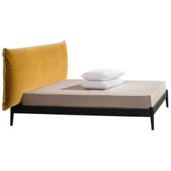 Shiko Wonder Bed in Black Wood Frame and Upholstered Headboard, by E-GG