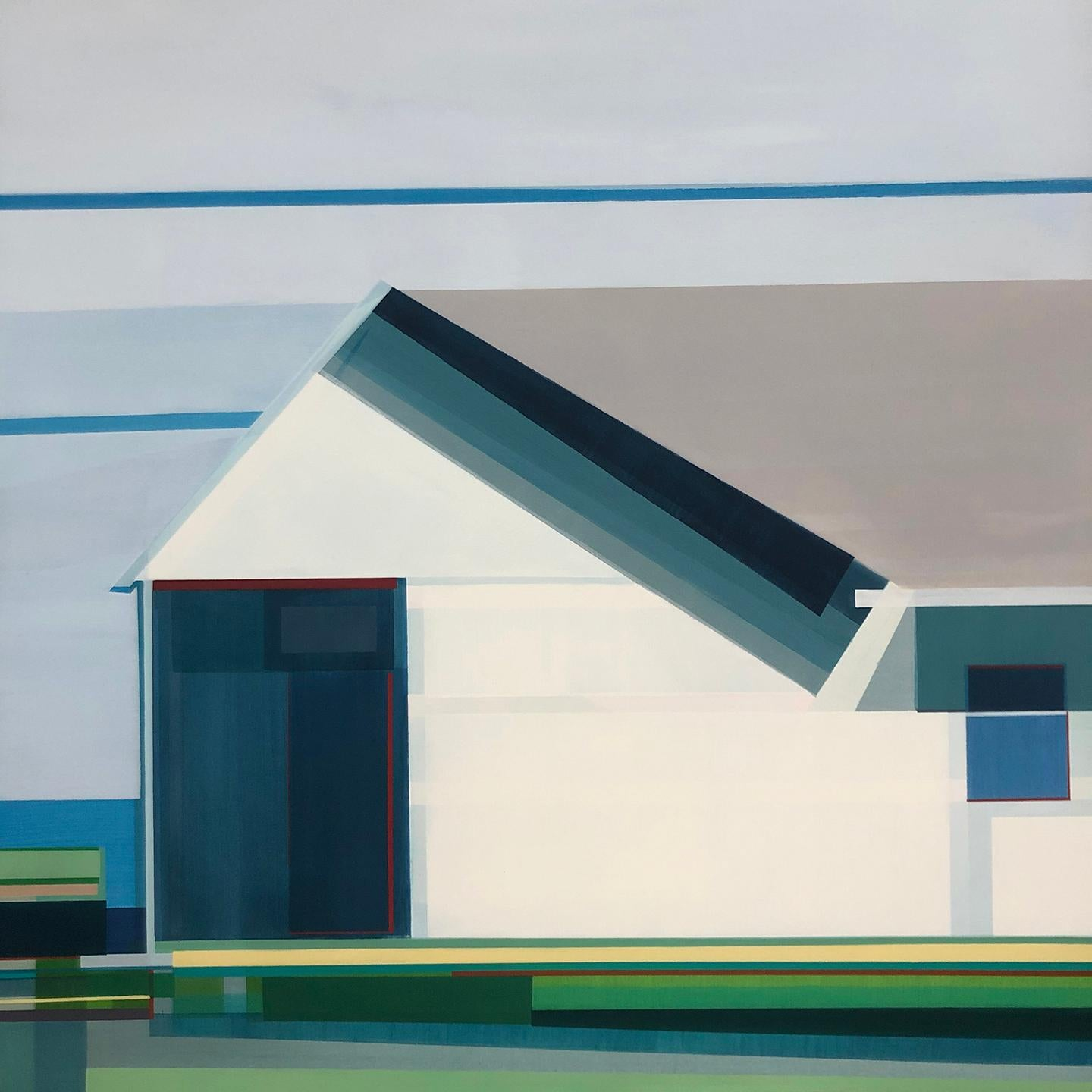 """""""Beach House,"""" Abstract Geometric Painting"""