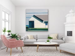 'Beach House' large contemporary abstract geometric painting