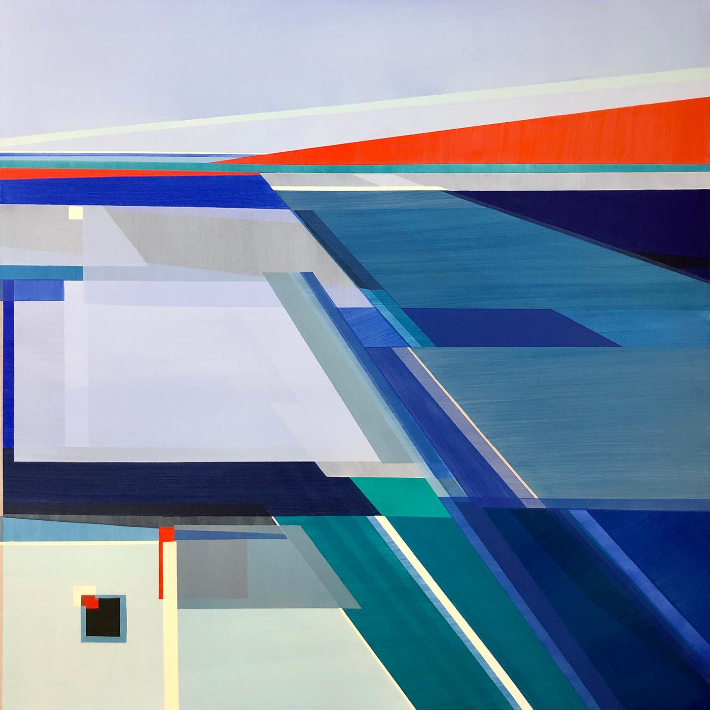 """""""Between the Night,"""" Abstract Geometric Painting"""