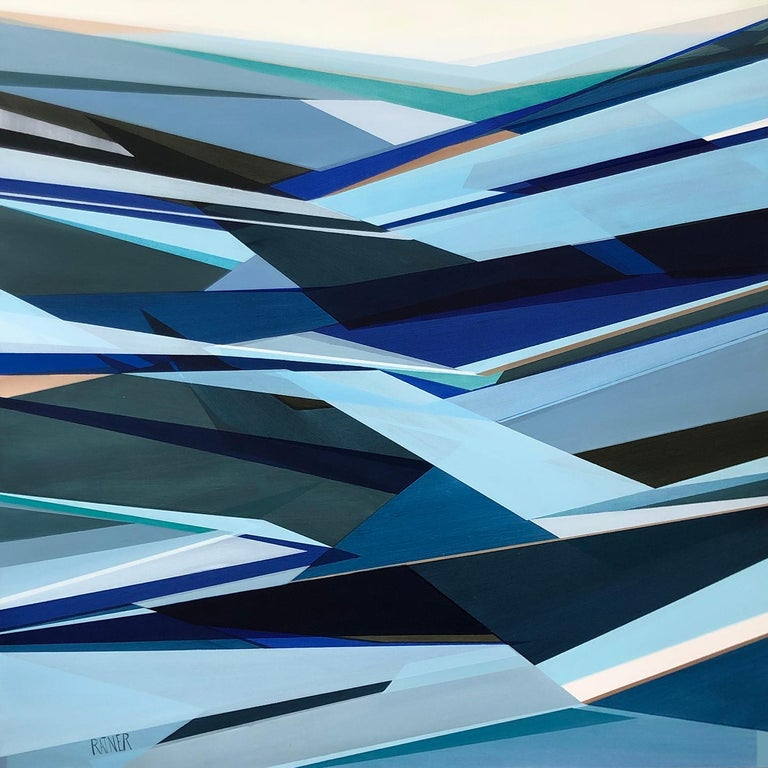 'Fathomless' Large contemporary abstract geometric painting - Painting by Shilo Ratner