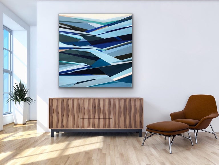 'Fathomless' Large contemporary abstract geometric painting - Abstract Geometric Painting by Shilo Ratner