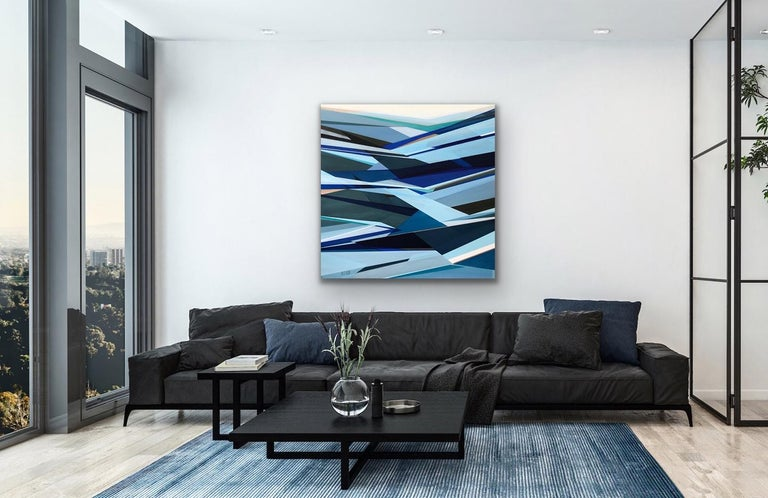 'Fathomless' Large contemporary abstract geometric painting - Blue Abstract Painting by Shilo Ratner