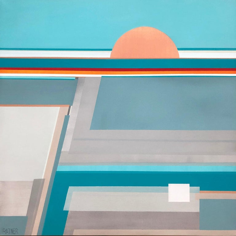 """Shilo Ratner Abstract Painting -  """"Morning Awakening,"""" Contemporary Abstract Geometric Painting"""
