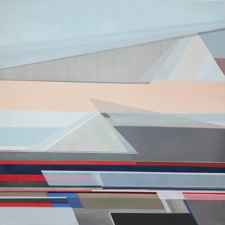 """Shilo Ratner Abstract Painting - """"Wisdom of the Mountains,"""" Abstract Geometric Painting"""
