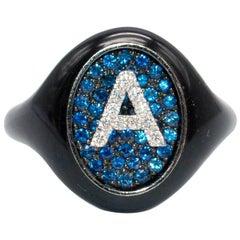 Shima Azman Black 'A' Signet Ring