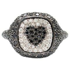 Shima Azman Black Diamond Heart Signet Ring