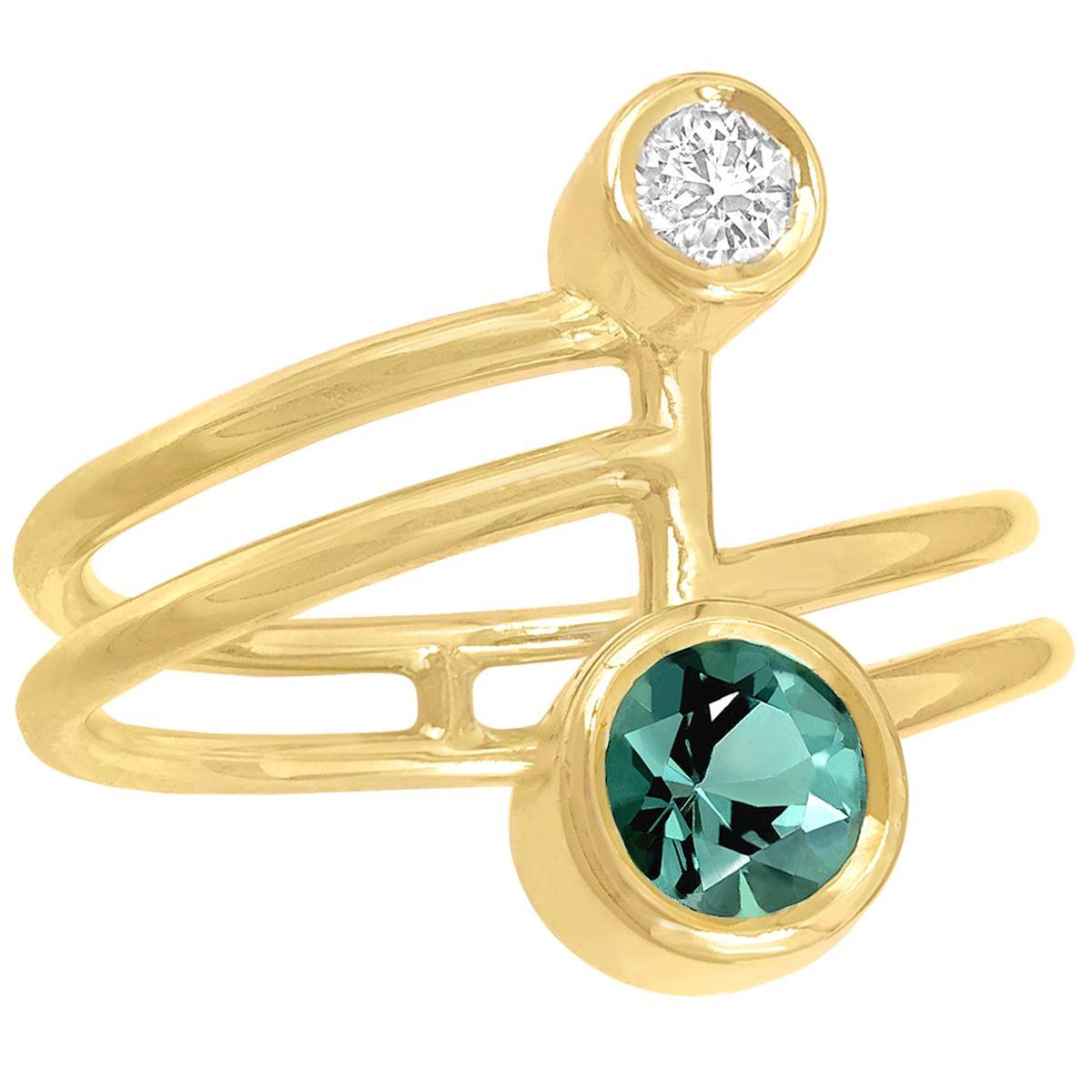 Shimell and Madden Blue Green Tourmaline White Diamond Gold Beta Ring