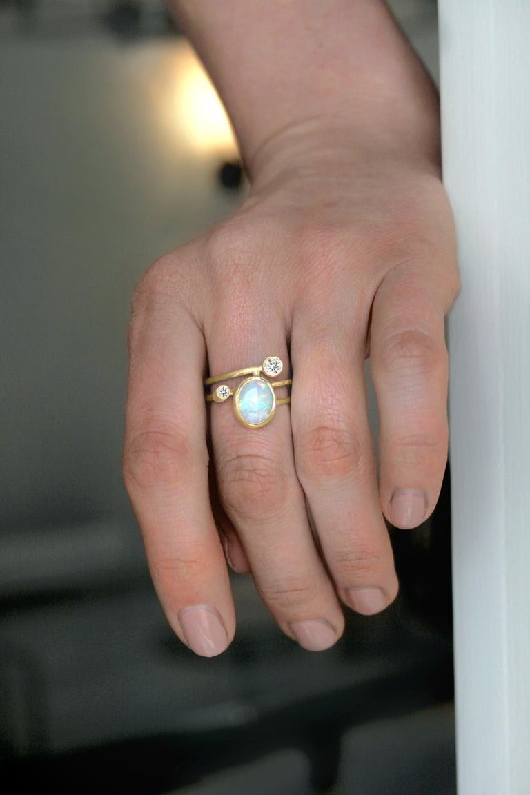 Artist Shimell & Madden Australian Opal Diamond Gold One of a Kind Ellipse Ring For Sale