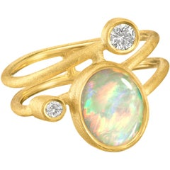 Shimell & Madden Australian Opal Diamond Gold One of a Kind Ellipse Ring