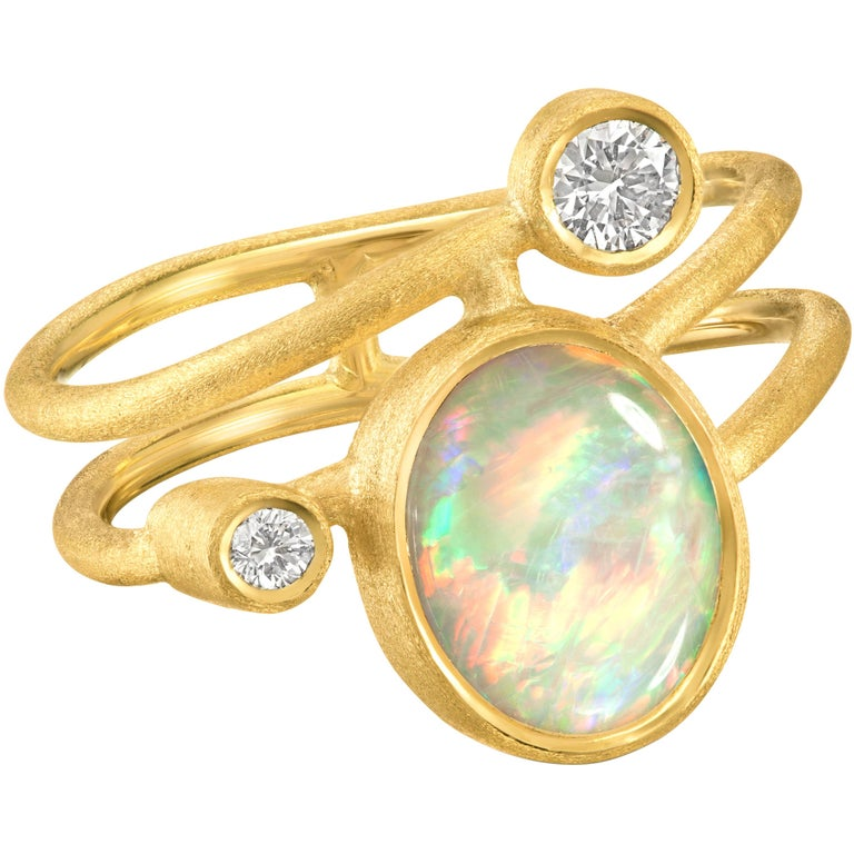 Shimell & Madden Australian Opal Diamond Gold One of a Kind Ellipse Ring For Sale