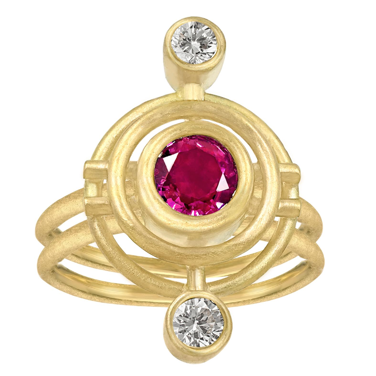 Shimell & Madden Pink Sapphire White Diamond One of a Kind Double Galaxy Ring