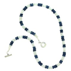 Gemjunky Shimmering Blue and White Summer fun in Kyanite and Moonstone Necklace