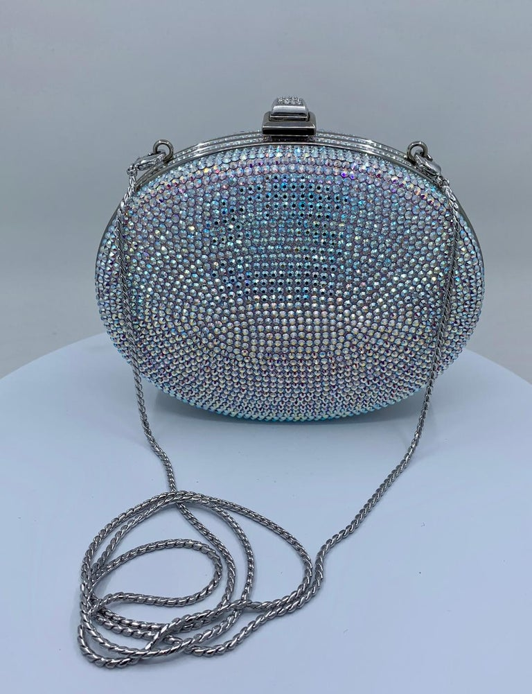 Shimmering Judith Leiber Oval Shaped Opalescent Crystal Miniaudiere Evening Bag For Sale 9
