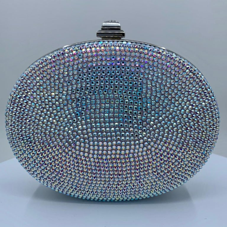 Shimmering Judith Leiber Oval Shaped Opalescent Crystal Miniaudiere Evening Bag For Sale 10