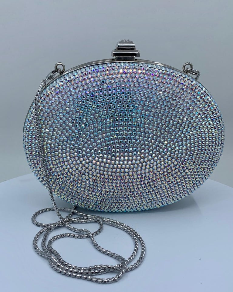 Gray Shimmering Judith Leiber Oval Shaped Opalescent Crystal Miniaudiere Evening Bag For Sale