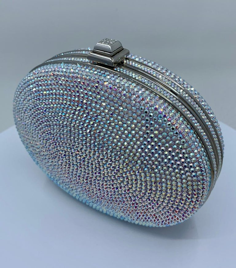 Women's Shimmering Judith Leiber Oval Shaped Opalescent Crystal Miniaudiere Evening Bag For Sale