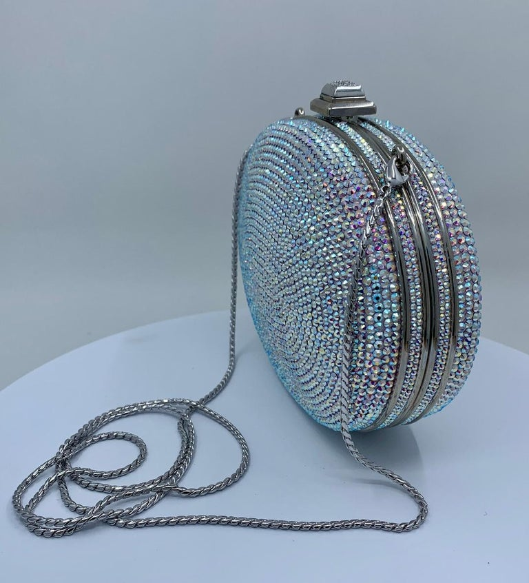 Shimmering Judith Leiber Oval Shaped Opalescent Crystal Miniaudiere Evening Bag For Sale 2