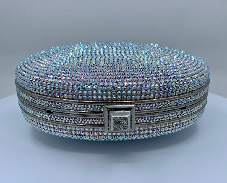 Shimmering Judith Leiber Oval Shaped Opalescent Crystal Miniaudiere Evening Bag For Sale 3