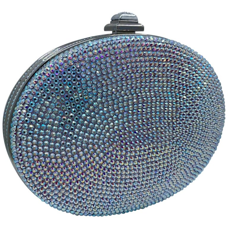 Shimmering Judith Leiber Oval Shaped Opalescent Crystal Miniaudiere Evening Bag For Sale
