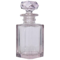 Shimmering Pale Pink Cut Glass Perfume Bottle Faceted Stopper Style of Baccarat