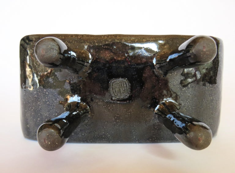American Shimmery Black Rectangular Void, Ceramic Sculpture on 4 Legs With Brown Speckles For Sale