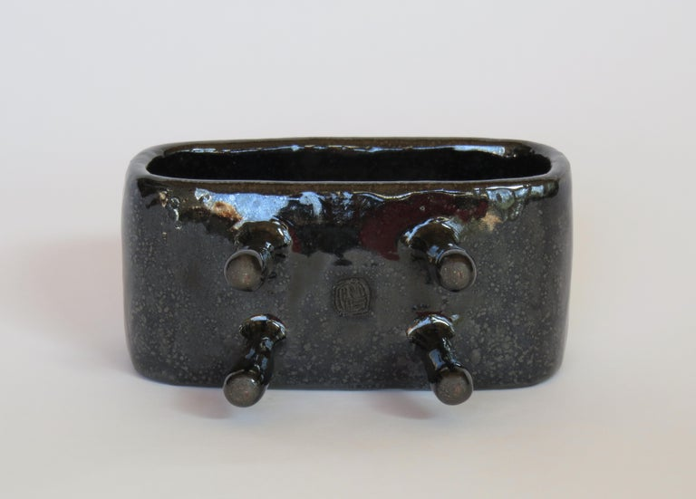 Hand-Crafted Shimmery Black Rectangular Void, Ceramic Sculpture on 4 Legs With Brown Speckles For Sale