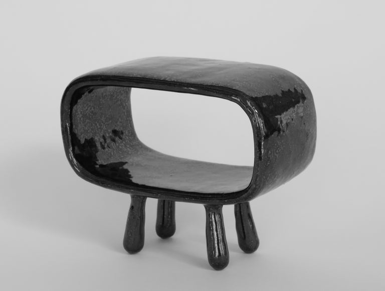 Shimmery Black Rectangular Void, Ceramic Sculpture on 4 Legs With Brown Speckles In New Condition For Sale In New York, NY
