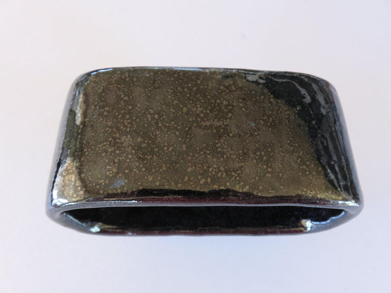 Contemporary Shimmery Black Rectangular Void, Ceramic Sculpture on 4 Legs With Brown Speckles For Sale