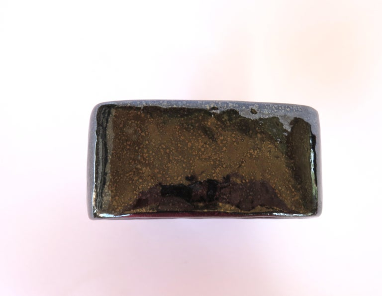 Shimmery Black Rectangular Void, Ceramic Sculpture on 4 Legs With Brown Speckles For Sale 1